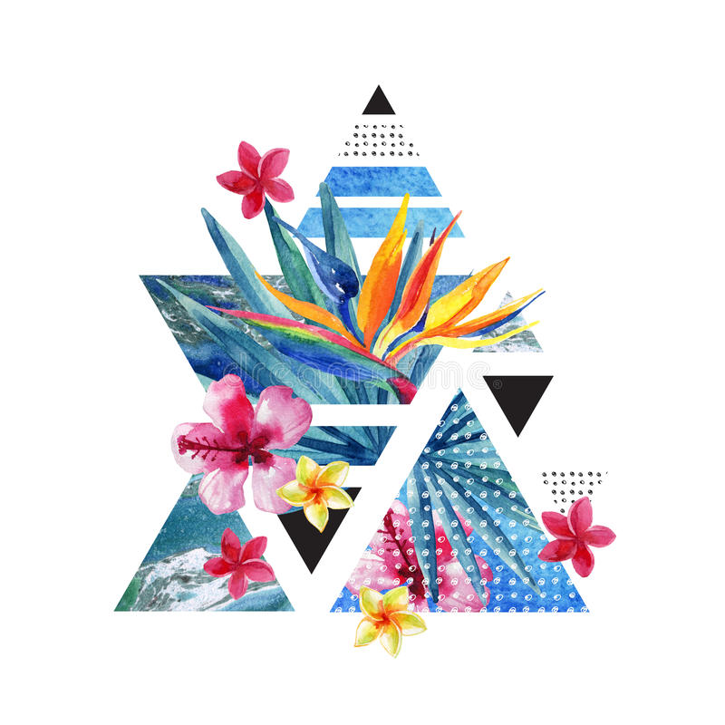 Projeto geométrico do cartaz do verão abstrato com flores ilustração do vetor