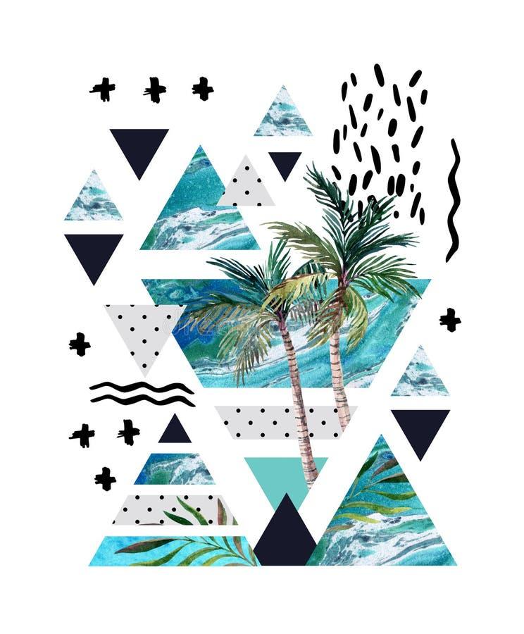 Projeto geométrico do cartaz do verão abstrato ilustração royalty free