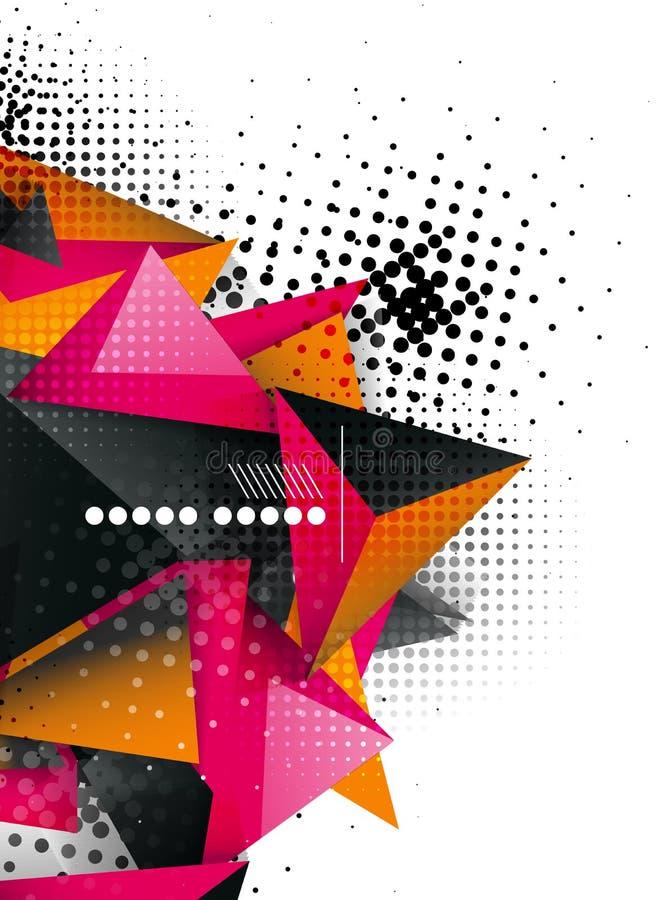 Projeto geométrico do triângulo 3d, fundo abstrato ilustração stock
