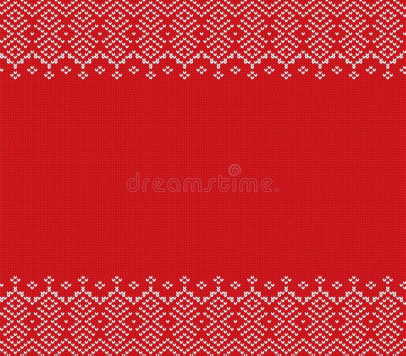 Projeto geométrico feito malha do ornamento do Natal com espaço vazio para o texto Teste padrão sem emenda do feriado ilustração stock