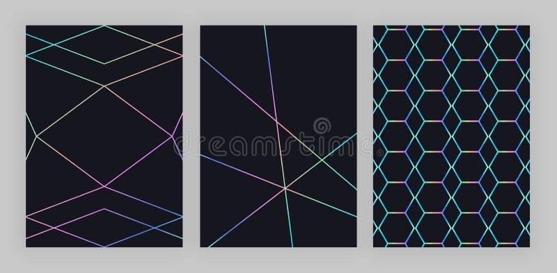 Projeto geométrico holográfico na moda ajustado Linhas poligonais coloridas no fundo preto Teste padrão moderno para o inseto, co ilustração stock