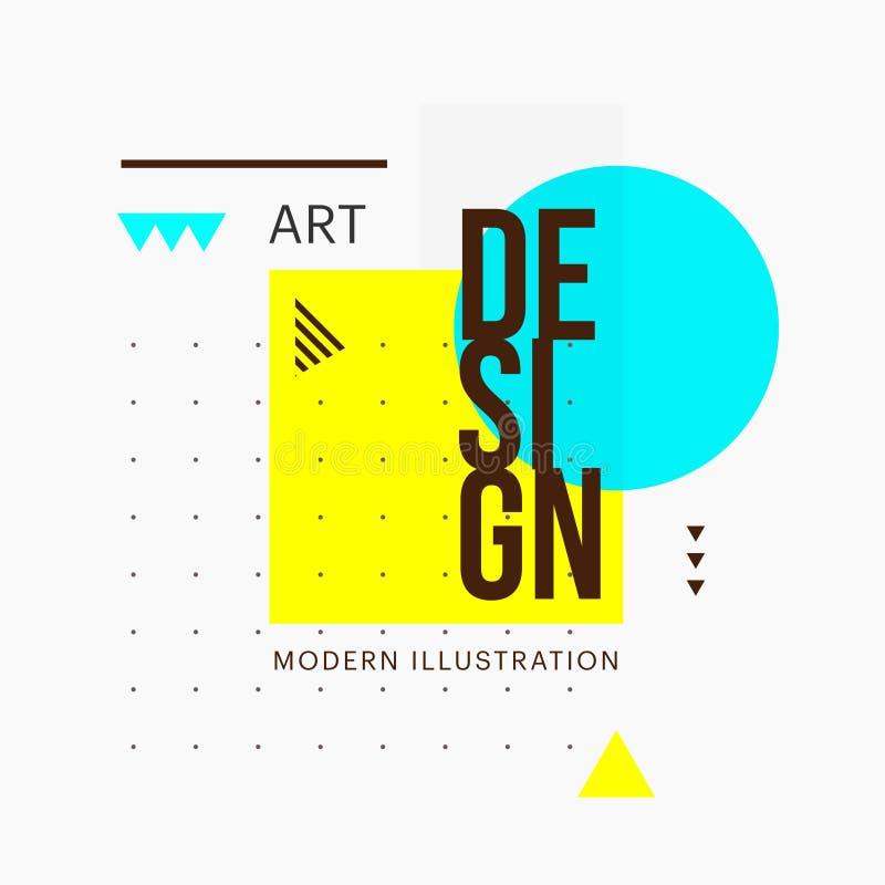 Projeto geométrico minimalistic na moda da forma Vector elementos da arte moderna para cartões, convites, vales-oferta ilustração royalty free
