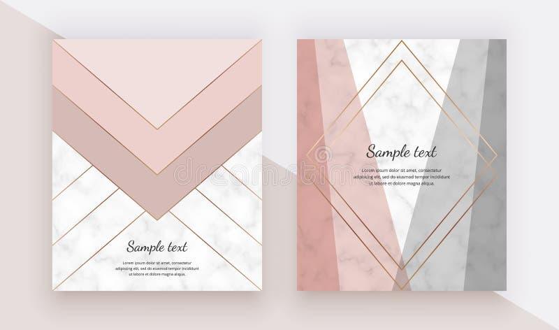 Projeto geométrico moderno da tampa com rosa, formas cinzentas dos triângulos e linhas do ouro na textura de mármore Molde para o ilustração stock