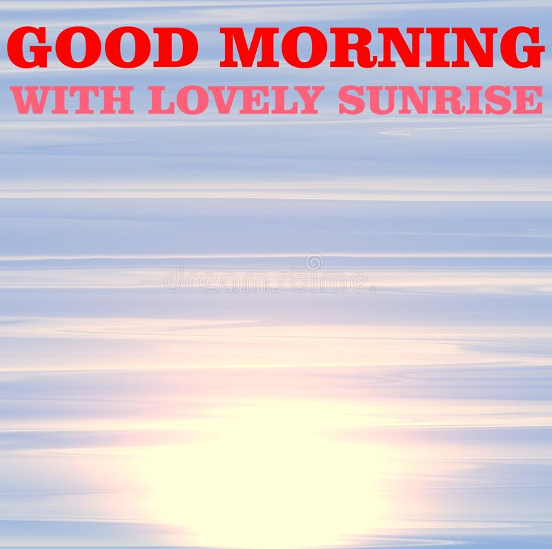 Projeto gerado por computador da ilustração do nascer do sol colorido com efeito da luz solar da manhã ilustração do vetor