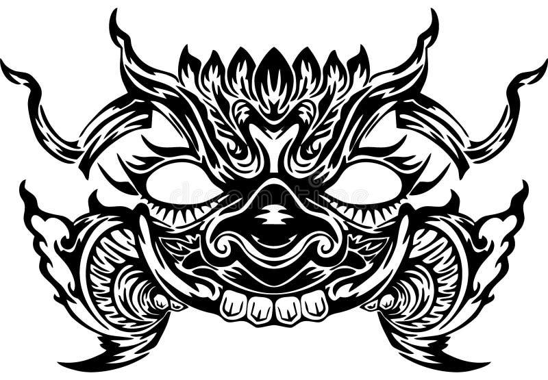 Projeto gigante tailandês da cara para a tatuagem neo tailandesa ilustração do vetor