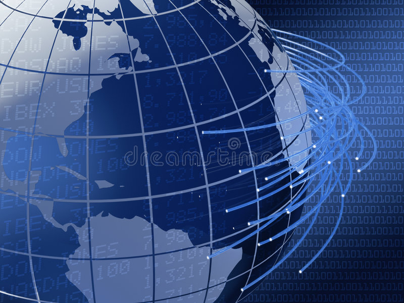 Projeto global do fundo das telecomunicações ilustração do vetor