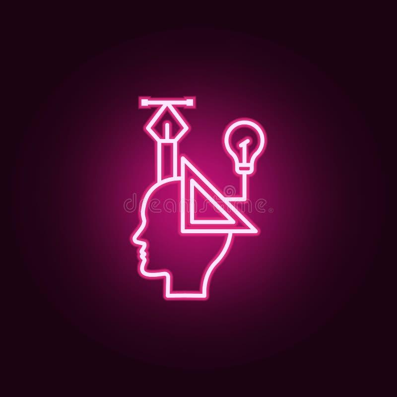 Projeto, gráfico, ícone de néon da cabeça Elementos do grupo do pensamento criativo Ícone simples para Web site, design web, app  ilustração royalty free