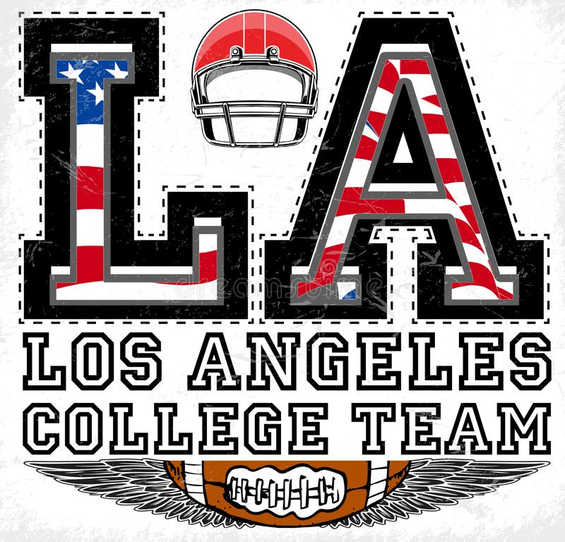 Projeto gráfico atlético de Los Angeles do LA ilustração stock