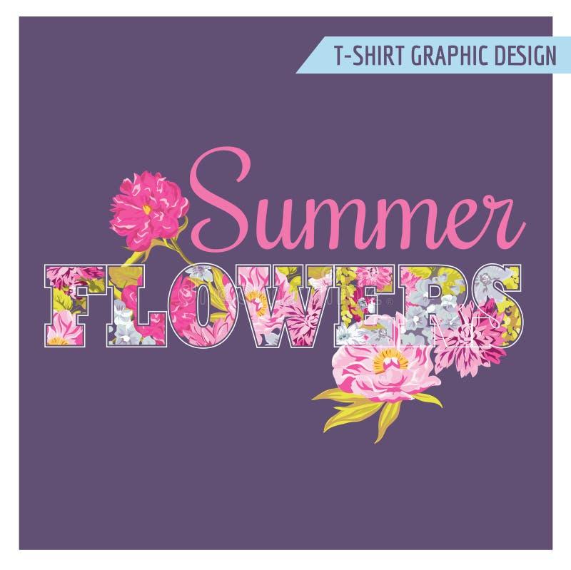 Projeto gráfico chique gasto floral do t-shirt ilustração royalty free
