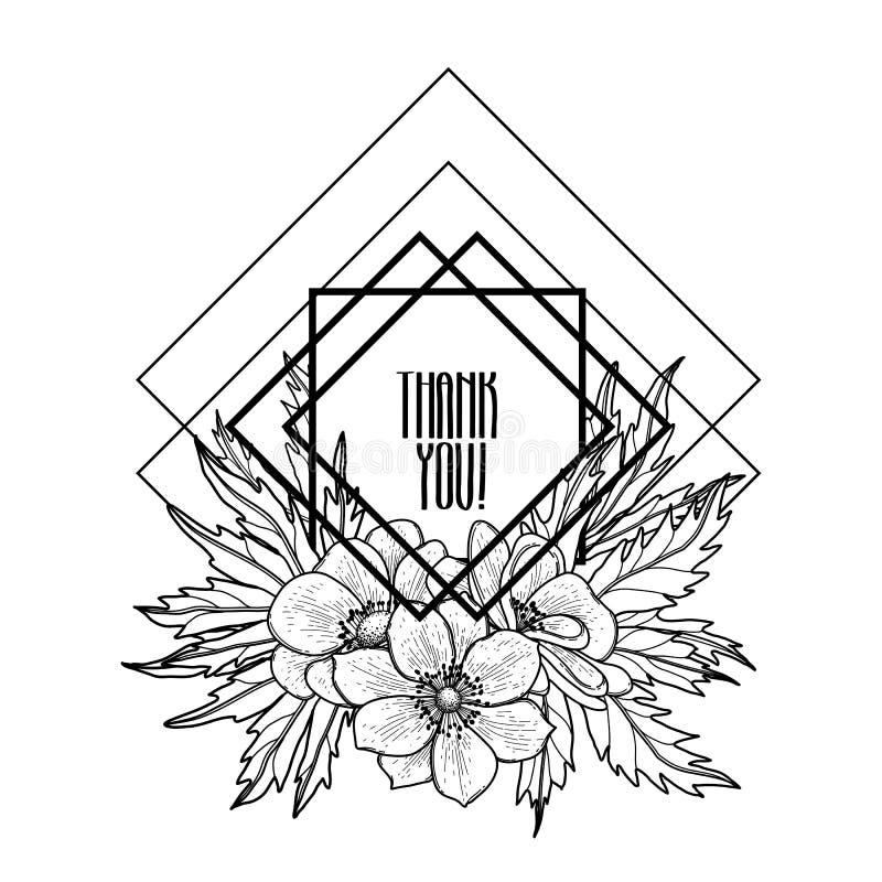 Projeto gráfico com vinheta floral ilustração royalty free