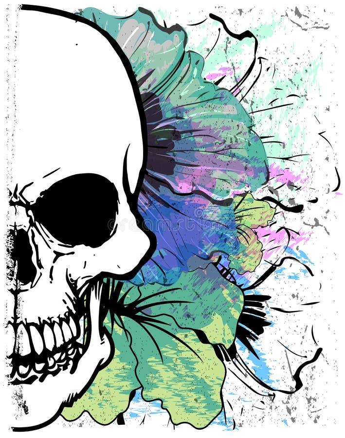Projeto gráfico da camisa da aquarela T do crânio ilustração do vetor