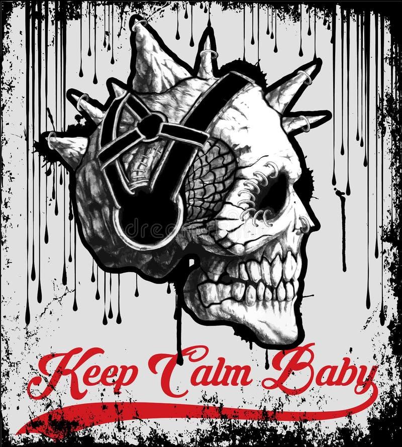 Projeto gráfico da camisa do crânio T do vintage ilustração royalty free