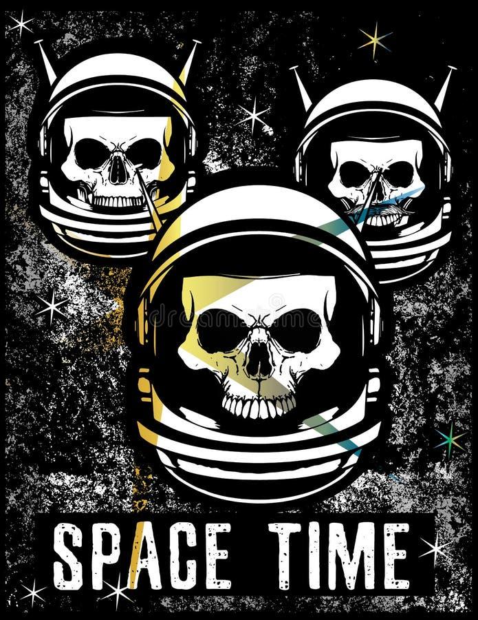 Projeto gráfico da camisa do crânio T do espaço do vintage ilustração royalty free