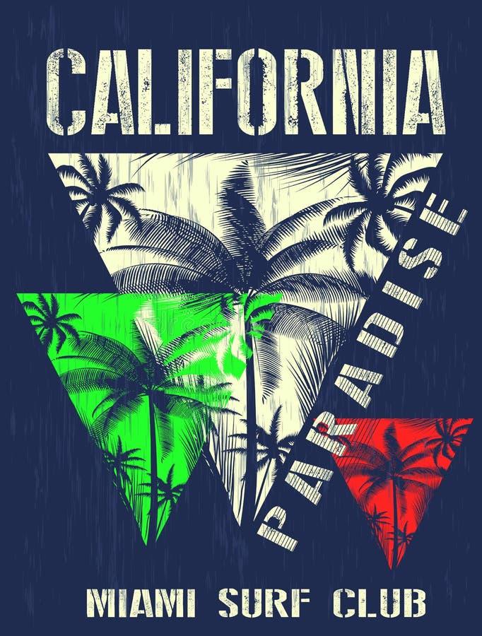 Projeto gráfico da camisa do verão t de Califórnia miami ilustração do vetor