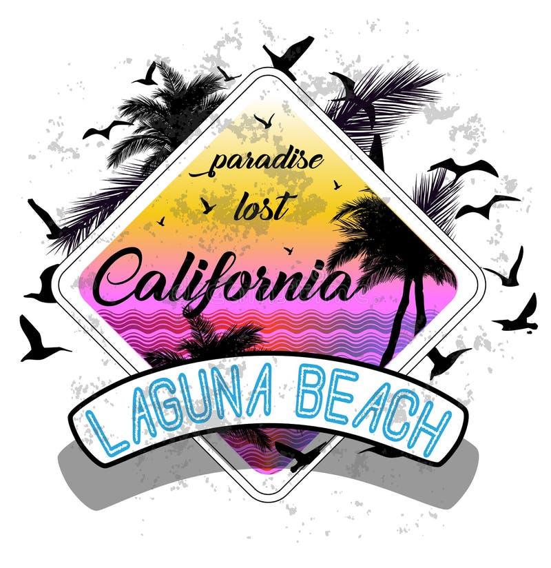 Projeto gráfico da camisa do verão t de Califórnia miami ilustração stock
