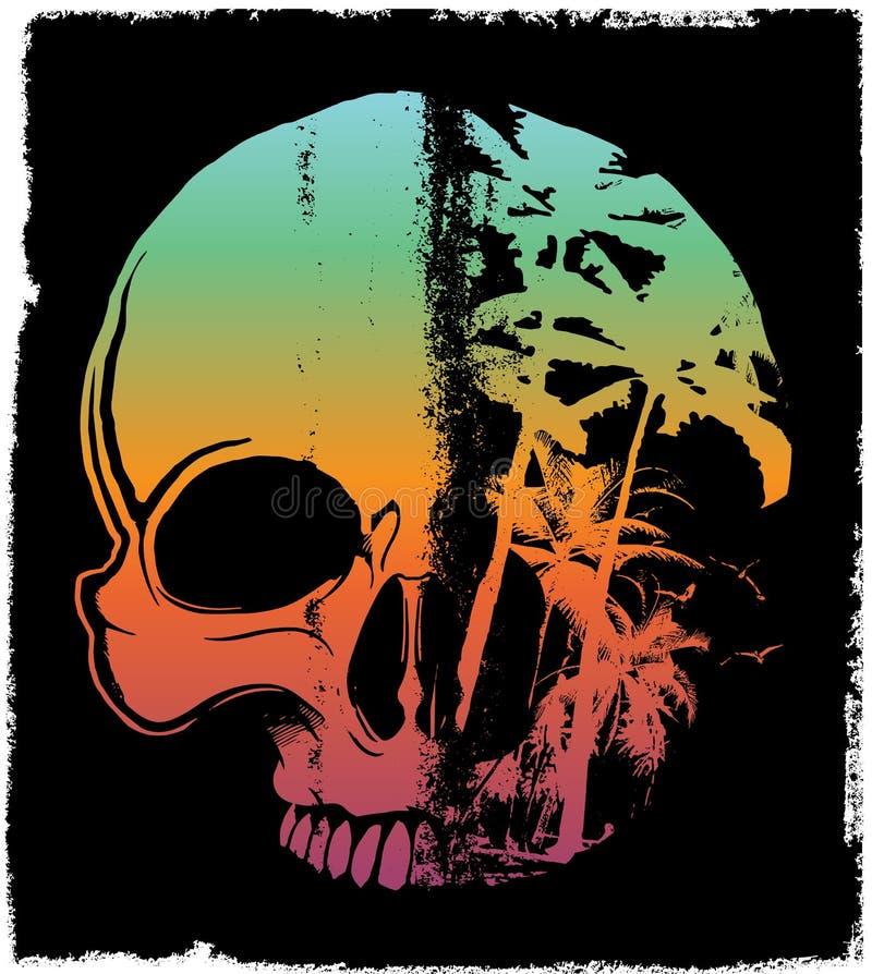 Projeto gráfico da camisa do verão T do crânio ilustração royalty free