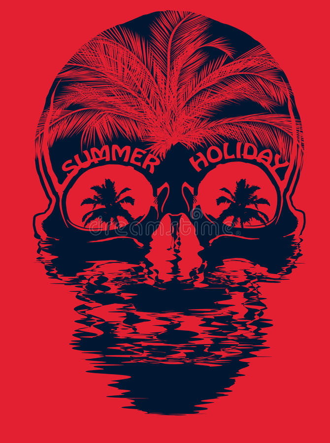 Projeto gráfico da camisa do verão T do crânio ilustração stock