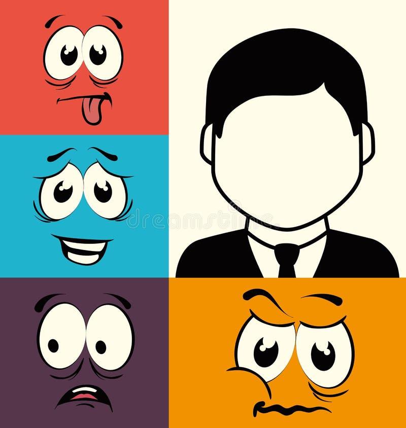 Projeto gráfico da cara engraçada dos desenhos animados ilustração royalty free