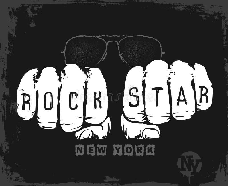 Projeto gráfico da estrela do rock, cópia do t-shirt da ilustração do vetor ilustração royalty free