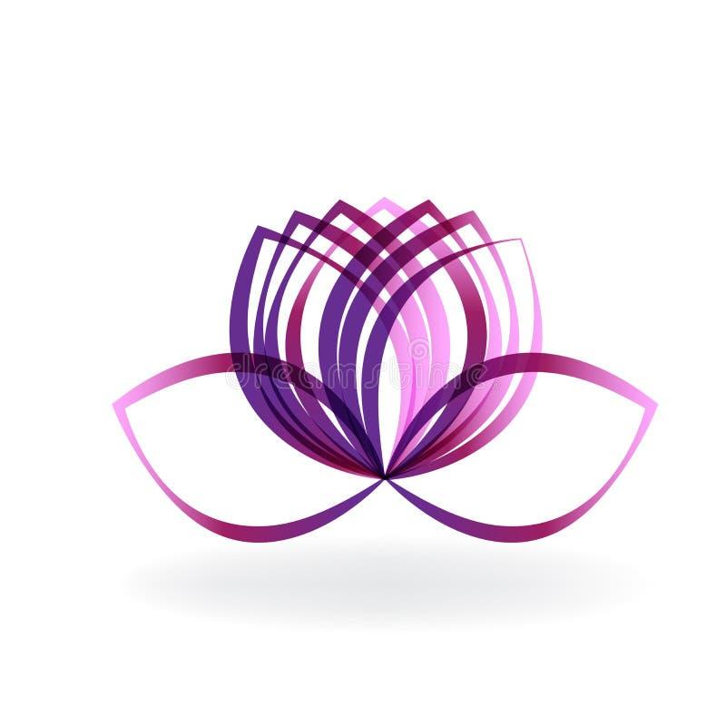 Projeto gráfico da ilustração roxa da imagem do vetor do logotipo da flor de lótus ilustração do vetor