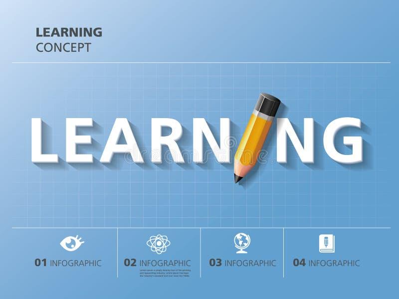 Projeto gráfico da informação, aprendendo, lápis ilustração stock
