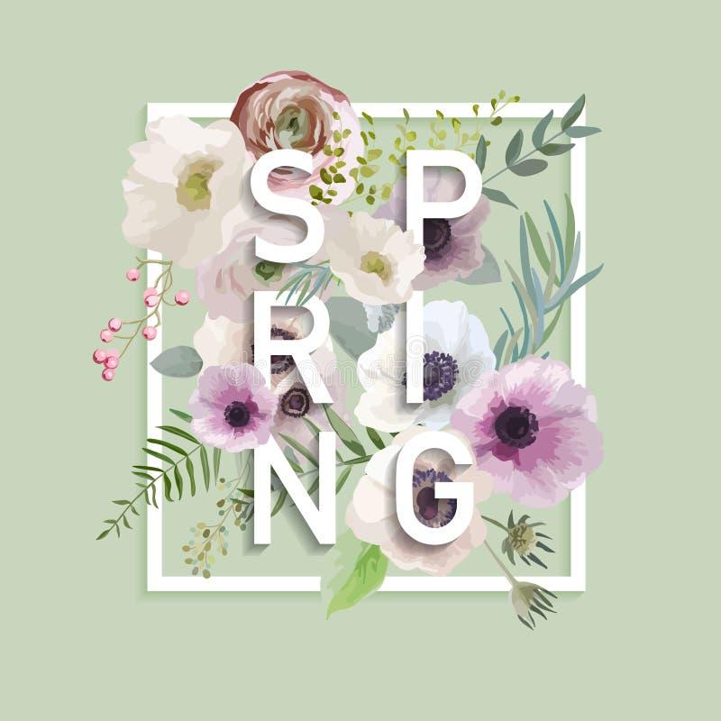 Projeto gráfico da mola floral ilustração stock