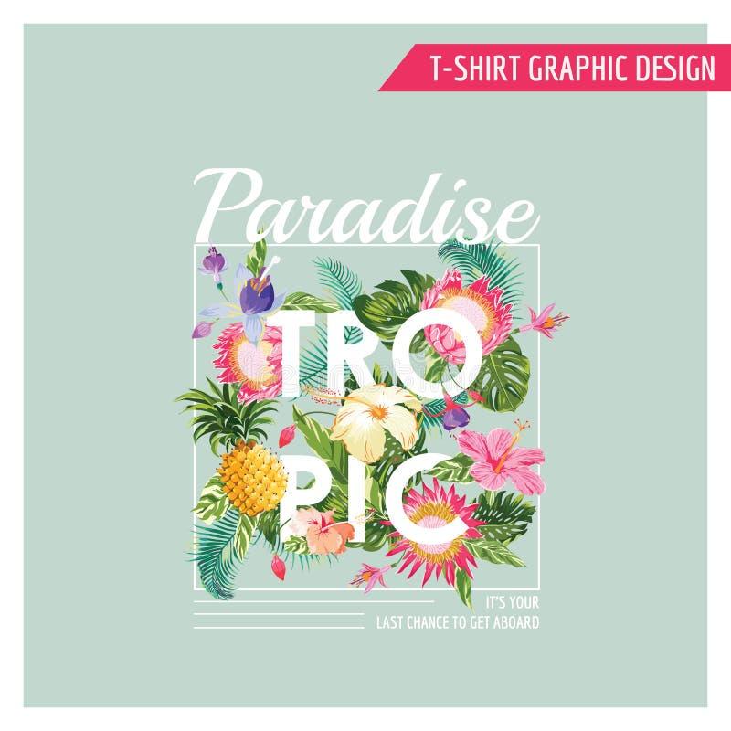 Projeto gráfico das flores tropicais do t-shirt ilustração do vetor