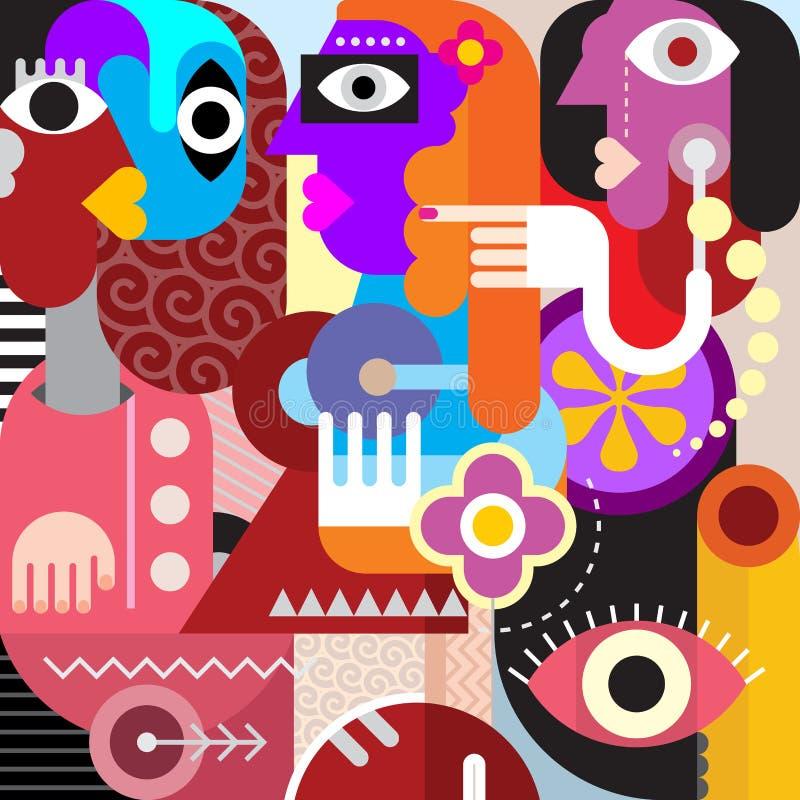 Projeto gráfico de três mulheres ilustração stock