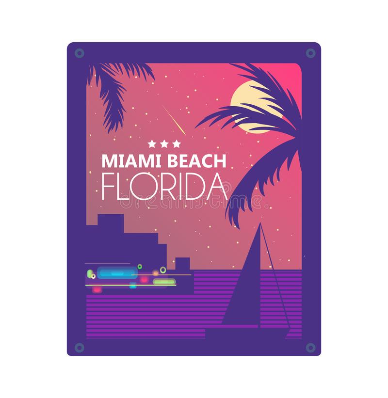 Projeto gráfico de vetor do conceito do verão de Miami para a cópia ilustração royalty free