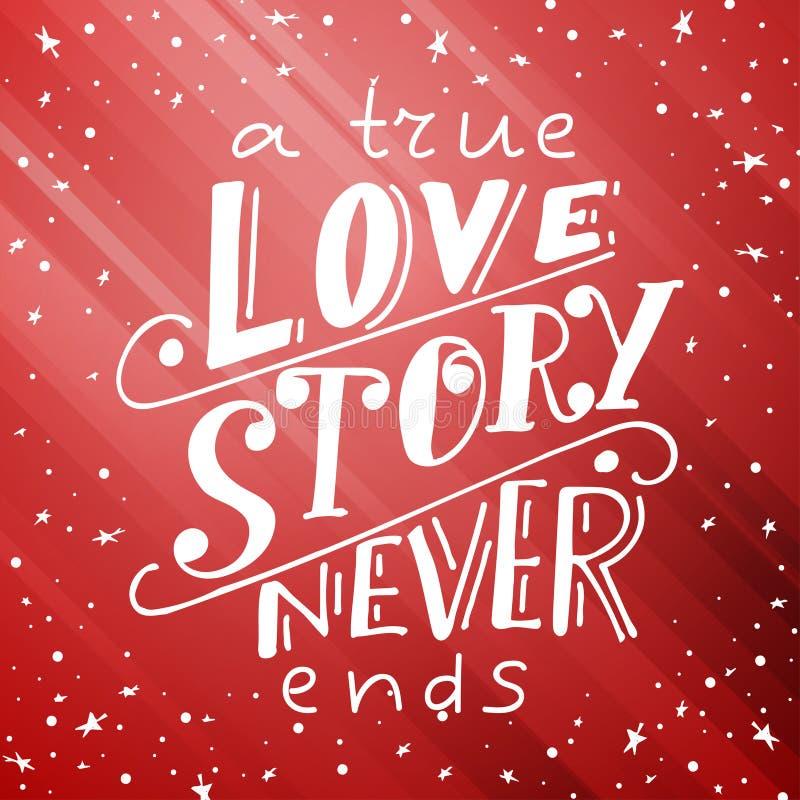 Projeto gráfico do cartão do amor Rotulação do vetor para o cartaz Projeto tipográfico com slogan criativo Ilustração da tinta Um ilustração do vetor