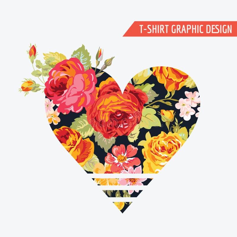 Projeto gráfico do coração floral do t-shirt ilustração do vetor