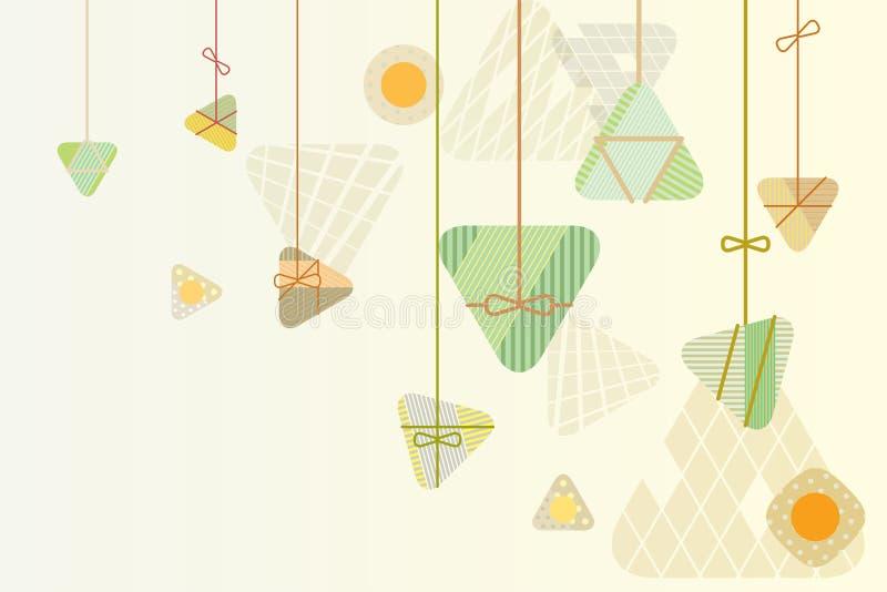 Projeto gráfico do fundo das bolinhas de massa do arroz para o festival de barco de dragão ilustração stock