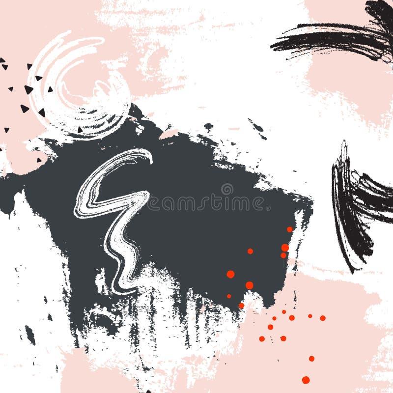 Projeto gráfico do grunge cinzento do rosa Teste padrão abstrato da amostra de folha da pintura Elementos horisontal dinâmicos do ilustração stock
