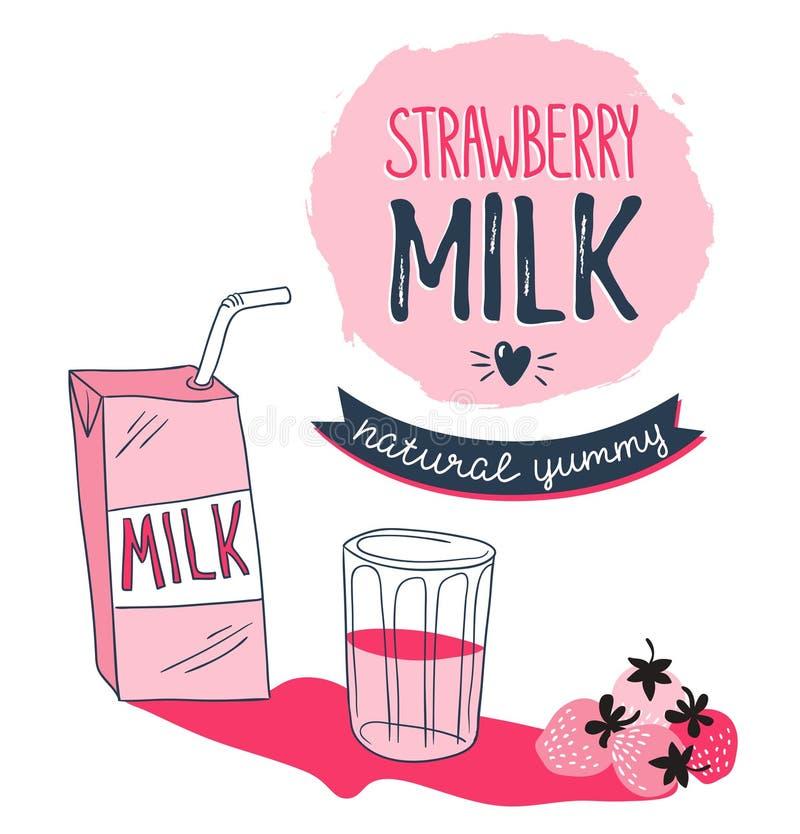 Projeto gráfico do leite da morango, ilustração do vetor com a baga à moda da caixa do leite, a de vidro e a cor-de-rosa ilustração do vetor