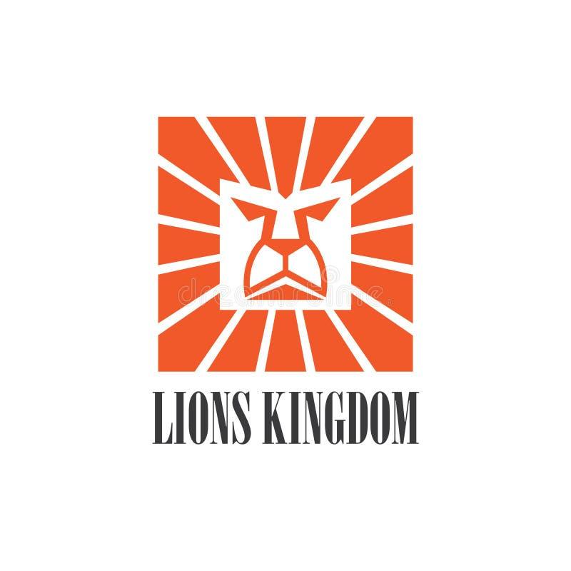 Projeto gráfico do logotipo do ícone da cabeça do leão ilustração stock