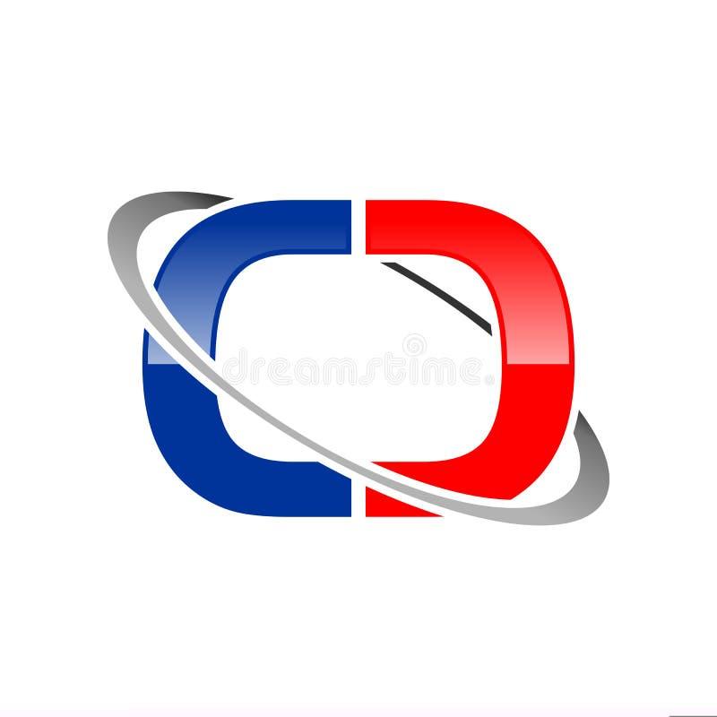 Projeto gráfico do símbolo satélite global inicial dos meios do centímetro cúbico Lettermark ilustração do vetor