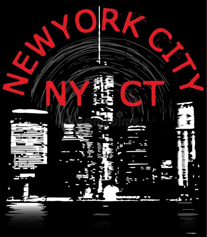 Projeto gráfico do T de New York City ilustração do vetor