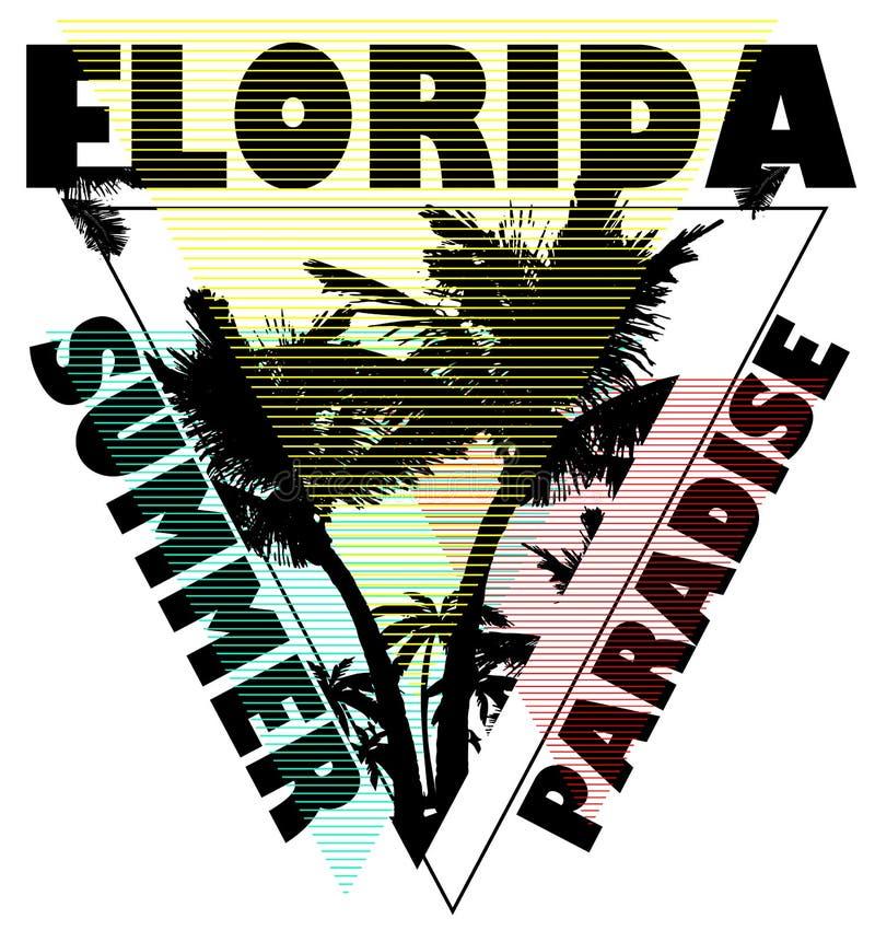 Projeto gráfico do T do verão de Florida ilustração royalty free