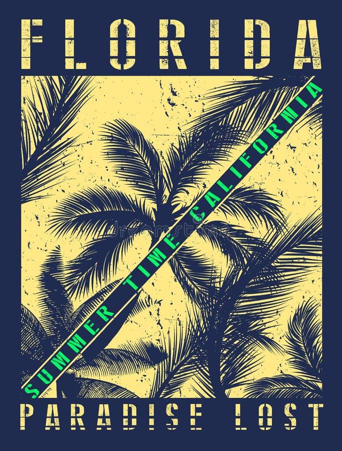Projeto gráfico do T do verão de Florida ilustração do vetor