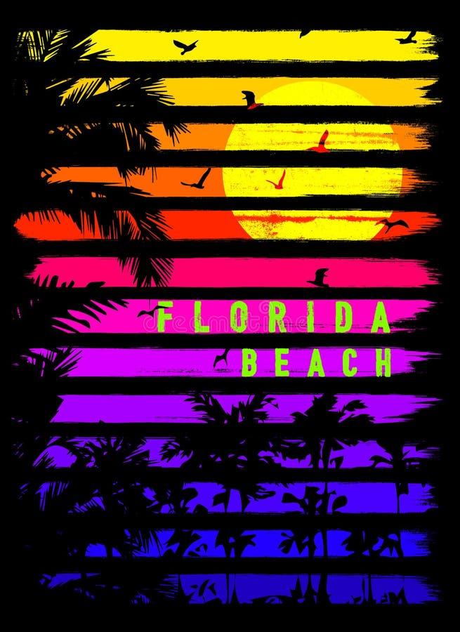 Projeto gráfico do T do verão de Florida ilustração stock