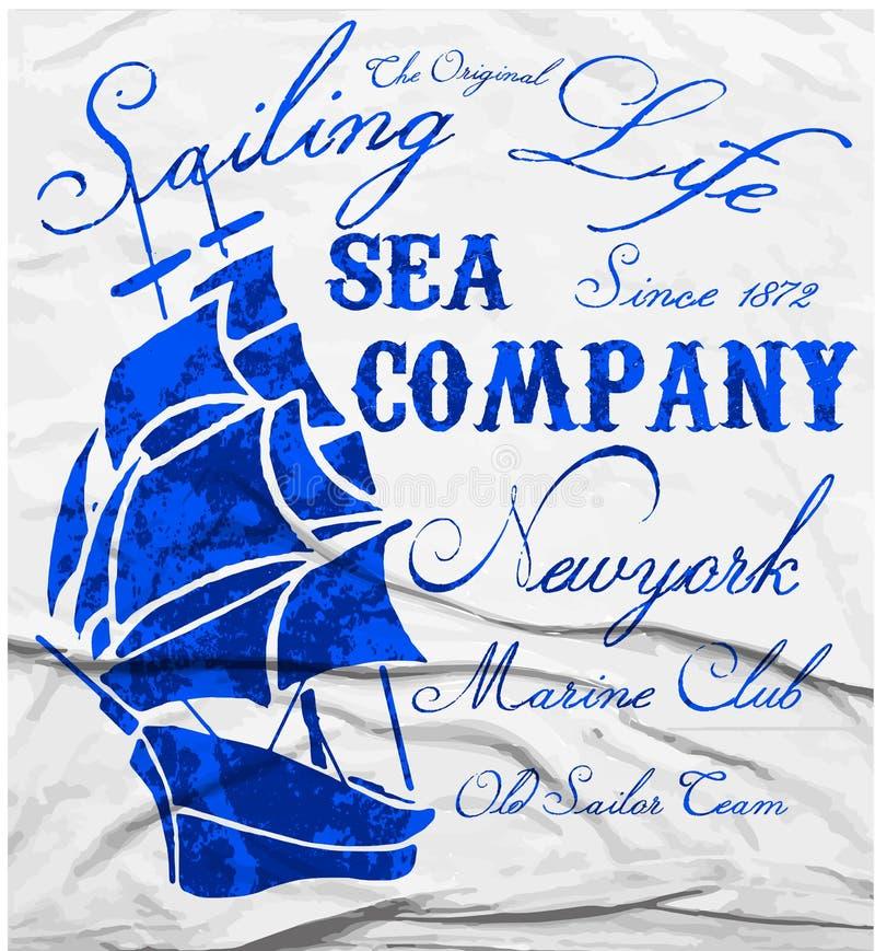 Projeto gráfico do T marinho velho da aquarela do clube do navio ilustração stock
