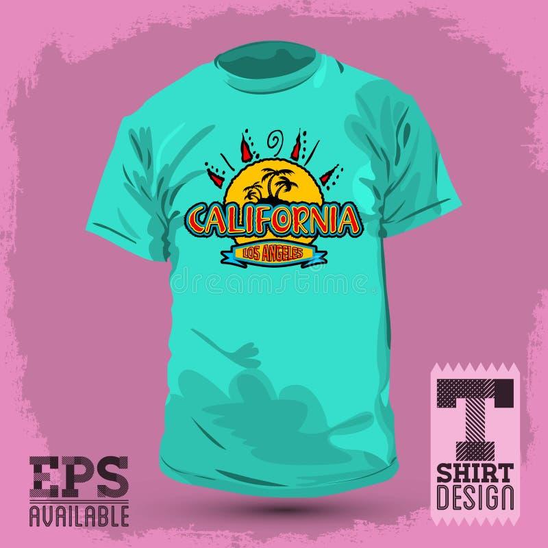 Projeto gráfico do t-shirt, crachá de Califórnia, emblema ilustração do vetor