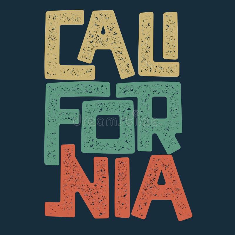 Projeto gráfico do t-shirt de Califórnia ilustração do vetor