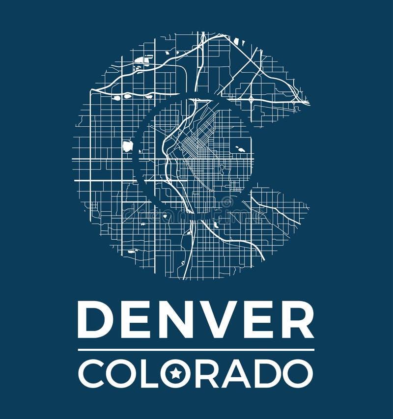Projeto gráfico do t-shirt de Colorado com o mapa da cidade de Denver ilustração stock