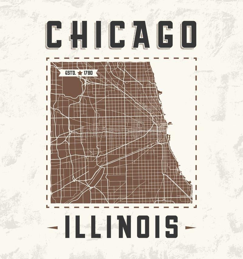 Projeto gráfico do t-shirt do vintage de Chicago com mapa da cidade ilustração do vetor