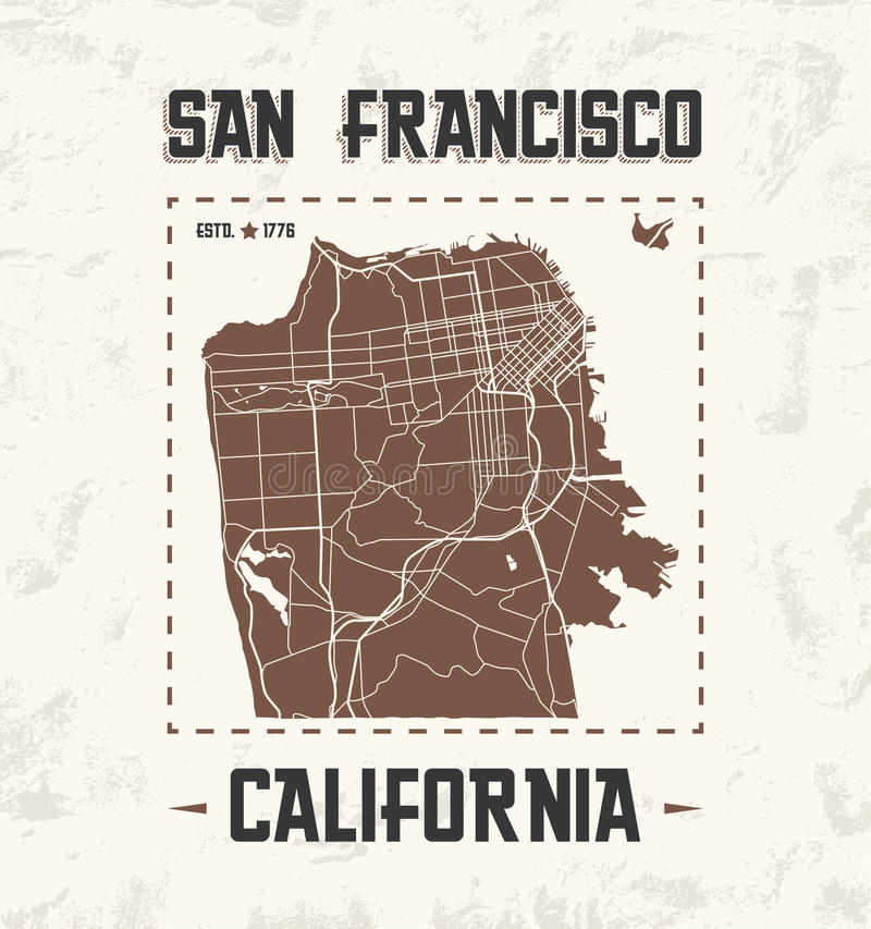 Projeto gráfico do t-shirt do vintage de San Francisco com mapa da cidade ilustração stock