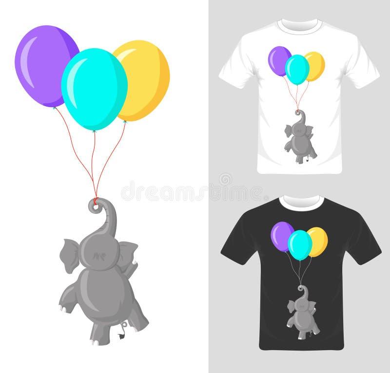 Projeto gráfico do t-shirt Elefante com vetor do balão ilustração stock