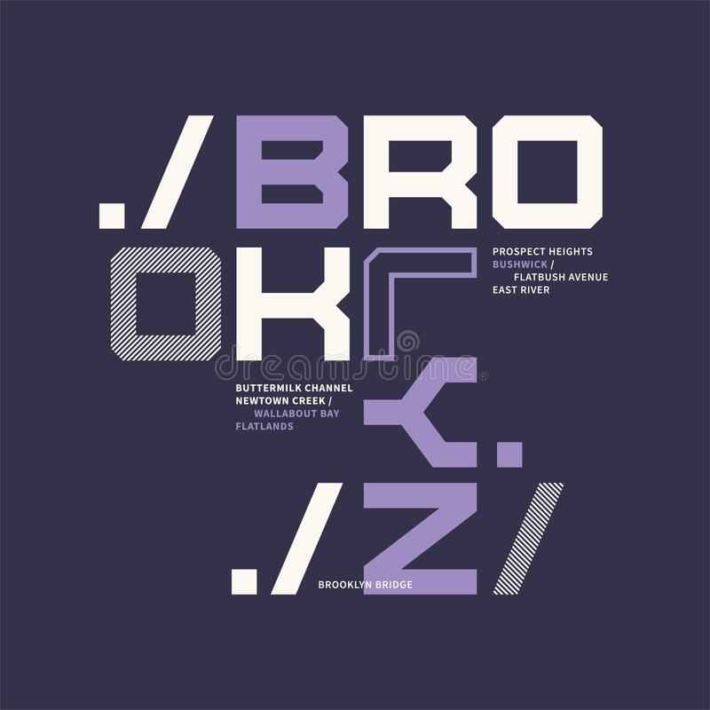 Projeto gráfico do t-shirt no assunto de Brooklyn New York City ilustração royalty free