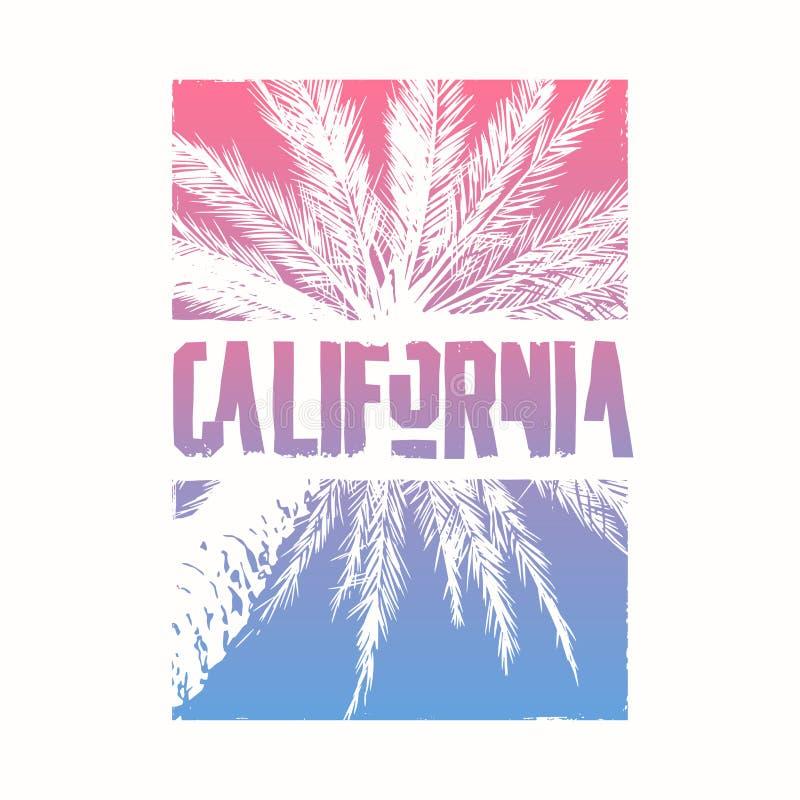Projeto gráfico do t-shirt no assunto de Califórnia com palmeira estilizado Ilustra??o do vetor ilustração stock