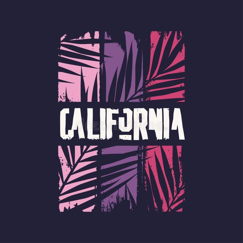 Projeto gráfico do t-shirt no assunto de Califórnia Ilustra??o do vetor ilustração do vetor